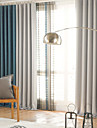 Two Panels Modern Solid Patchwork Living Room Polyester Blackout Curtains Drapes