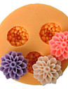 Tre Cell Small Flower silikonform Fondant Formar Sugar Craft Verktyg Harts blommor Mould formar för kakor