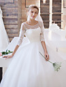 Ball Gown Wedding Dress Floral Lace Sweep / Brush Train Scoop Satin Tulle with Appliques