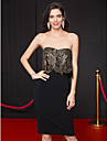 TS Couture® Cocktail Party Dress Sheath / Column Strapless Knee-length Lace / Jersey with Lace