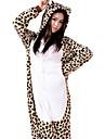 kigurumi Pyjamas Leopard Collant/Combinaison Fete / Celebration Pyjamas Animale Halloween Blanc Mosaique Flanelle Kigurumi Pour Unisexe