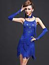 Latin Dance Dresses Women\'s Performance Spandex / Viscose Tassel(s) 5 Pieces Fuchsia / Red / Royal Blue Latin DanceDress / Neckwear /