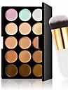 15 färger palett kontur ansiktskräm makeup concealer + ovala kosmetisk kräm pulver rodna makeup verktyg
