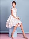 Lanting Bride® Trapeze Robe de Mariage  Mi-long Col Haut Dentelle / Charmeuse avec Dentelle / Ceinture / Ruban