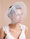 Voiles de Mariee Trois couches Voiles Blush / Voiles pour cheveux courts Bord coupe Tulle Blanc / Ivoire