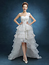 A-line Wedding Dress Asymmetrical One Shoulder Lace / Tulle with Lace