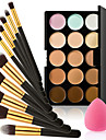 15 färger kontur ansiktskräm makeup concealer paletten + svamp puff puderborste för concealer foundation rouge
