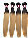 """3st / lot 12 """"-24"""" brasilianska mänskliga hårförlängningar ombre hår 1b / 27 honung blont rakt människohår väva 100g / bunt"""
