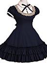 Une Piece/Robes Lolita Classique/Traditionnelle Retro Cosplay Vetrements Lolita Rouge Noir Incanardin Gris Bleu Encre RetroManches