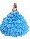 Prinsessa Klänningar För Barbie Doll Cyan Klänningar