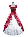ärmlös golv längd rött och vitt satin aristokrat lolita klänning
