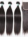 brasilianska jungfru hår rakt hår träns med stängning 3 buntar obearbetat människohår väva med 1st spets stängning