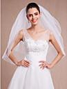 Voal de Nuntă Două Straturi Voaluri Lungime Până la Vârfurile Degetelor Vârf creion Tul Alb Ivoriu