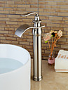 Contemporain Vasque Cascade with  Valve en ceramique Mitigeur un trou for  Nickel brosse , Robinet lavabo