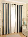 Två paneler Modern Rand Blå / Grå Bedroom Poly/Bomull blend Panelgardiner draperier
