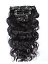 8a 100% naturel agrafe dans les extensions de cheveux humains pince a cheveux bresilien a onde de corps d\'extension