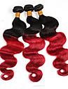 """3st / lot 8 """"-24"""" brasilianska jungfru hår, färgar 1b / röd, vågigt, obearbetade mänskliga hårförlängningar."""