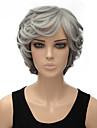 여자의 밝은 회색 컬러 곱슬 짧은 합성 가발