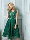 Prom / Cocktail Party Dress - Ball Gown V-neck Knee-length Lace with Lace