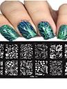 1pcs 12 * 6cm nail art estampage plaque belle fleur arc image coloree outils de conception a ongles les cool11-20