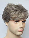 capless courte grise droite perruque de cheveux synthetiques pour la mode mens mens perruque