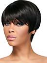 Capless svart färg kort längd högkvalitativa naturliga raka syntetisk peruk