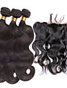 4pcs / lot oreille a dentelle frontale avec des faisceaux peruvian vague de corps avec fermeture humaine frontale de dentelle de cheveux