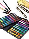 3in1 ögonmakeup set (120 färger ögonskugga kosmetiska palett + 4st ögonskuggspensel + 2st ögat lash expansionen curling mascara)