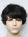 vraie perruque de cheveux humains de capless noir ondes courtes homme pour les hommes