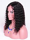 16inch djupt lockigt människohår peruk naturligt svart färg lockigt spets front peruk för svart kvinna 130density