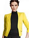 Women\'s Solid Blue/Pink/Black/Yellow Blazer , Work Shirt Collar Long Sleeve