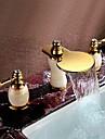 Art Deco/Retro Hål med bredare avstånd Vattenfall / brett spary with  Mässing Ventil Två handtag tre hål for  Ti-PVD , Badrum Sink kran