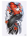 8pcs vortex noir bras design photo poisson carpe autocollant de tatouage temporaire femmes impermeables hommes du corps arriere art