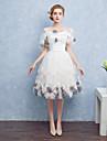 Mingea rochie off-the-umăr de ceai lungime satin tul cocktail partid rochie de bal cu arcul (e) floare (e)