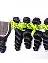 Hår Inslag med Stängning Brasilianskt hår Löst vågigt 18 månader 4 delar hår väver