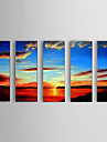 HANDMÅLAD Landskap Moderna,Fem paneler Hang målad oljemålning