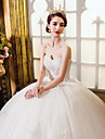 A-line Wedding Dress Floor-length Sweetheart Tulle with Appliques / Beading / Crystal / Lace / Pearl