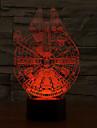 semester lampa 3d bulbing ljus redskap form millennium falcon ljus färgskiftande ledde nattlampa