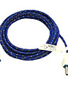 Tressee 3m de tissu tisse 10ft micro donnees de facturation cable de synchronisation cordon samsung htc telephones Sony usb (bleu)