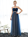 Formal Evening Dress Sheath / Column Sweetheart Floor-length Chiffon / Tulle with Crystal Detailing