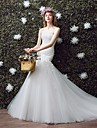 Trumpet / Mermaid Wedding Dress Court Train Sweetheart Tulle with Appliques