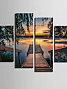 toile set Paysage Style europeen,Quatre Panneaux Toile Verticale Imprimer Art Decoration murale