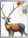 HANDMÅLAD Abstrakt / Djur olje~~POS=TRUNC,Moderna / Klassisk / Europeisk Stil En panel Kanvas Hang målad oljemålning For Hem-dekoration