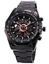 WINNER Bărbați Ceas de Mână ceas mecanic Mecanism automat Gravură scobită Oțel inoxidabil Bandă Luxos Negru Alb Negru