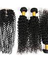 Hår Inslag med Stängning Peruanskt hår Sexigt Lockigt 4 delar hår väver