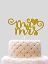 Vârfuri de Tort Nepersonalizat Inimi Hârtie cărți de masă Nuntă Fundă Auriu Temă Plajă / Temă Clasică 1 OPP