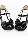 Chaussures Doux / Lolita Classique/Traditionnelle Princesse Talon plat Chaussures Noeud papillon 2.5 CM Noir Pour FemmeCuir PU/Cuir