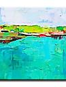 Peint a la main Abstrait Modern / Classique / Traditionnel / Realisme / Mediterraneen / Pastoral / Style europeen,Un Panneau Toile
