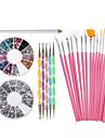outils de decorations nail art serti de strass blancs de cire picker crayon 15 brosses roses