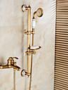 Konst Dekor / Retro Centerset Regndusch Handdusch inkluderad Utdragbar dusch with  Keramisk Ventil Enda handtag Två hål for  Antik Brons,